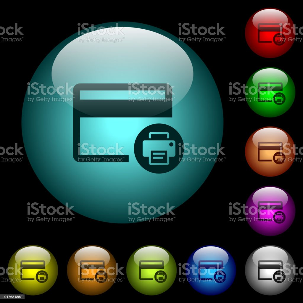 credit card print record icons in color illuminated glass buttons