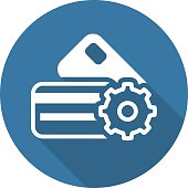Credit Card Processing Icon. Flat Design.