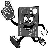 Credit Card Running with Foam Finger Illustration