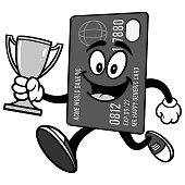 Credit Card Running with Trophy Illustration