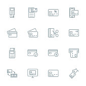 Credit card set of vector icons outline style
