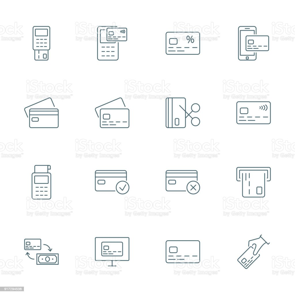 Credit card set of vector icons outline style vector art illustration