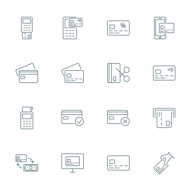 credit card set of vector icons outline style - credit cards stock illustrations, clip art, cartoons, & icons