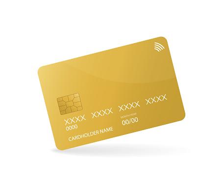 Credit card sign for mobile app design. Realistic 3d vector illustration. Digital chip.