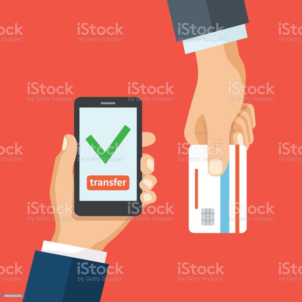 Kredi kartı smartphone ve onay işareti simgesi. vektör sanat illüstrasyonu