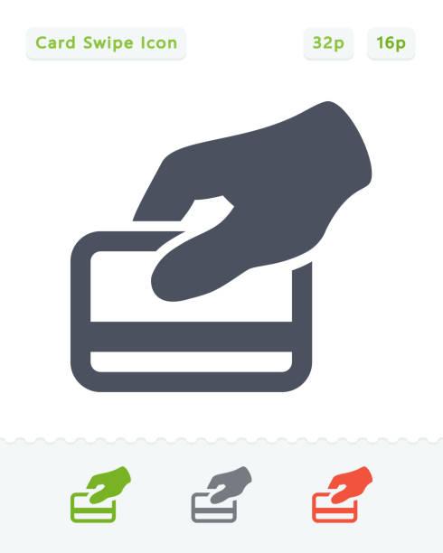 ilustrações de stock, clip art, desenhos animados e ícones de credit card swipe - sticker icons - paying with card