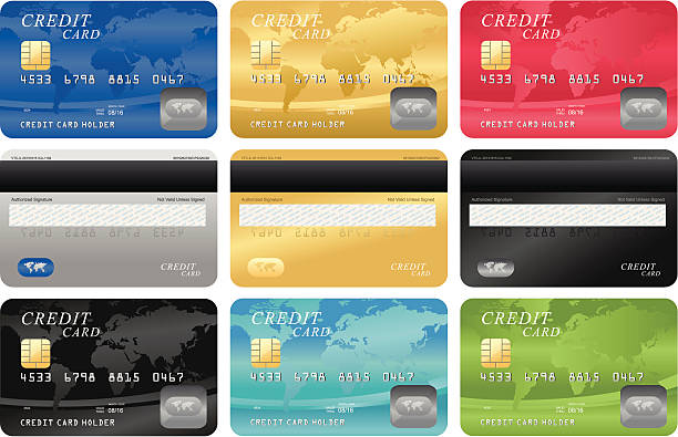 credit card template - credit cards stock illustrations, clip art, cartoons, & icons