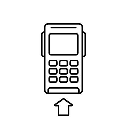 POS credit card terminal. Linear icon