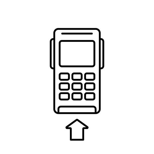 терминал pos-кредитной карты. линейный значок - credit card stock illustrations