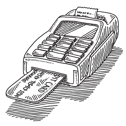 Credit Card Terminal Purchase Drawing Stock Illustration