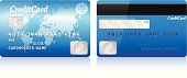 Realistic credit card on white background.
