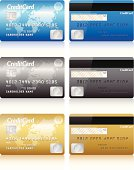 Realistic credit cards on white background.