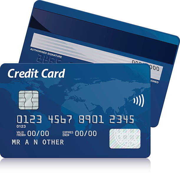 Credit card Realistic blue credit card front and back on white background. banking silhouettes stock illustrations