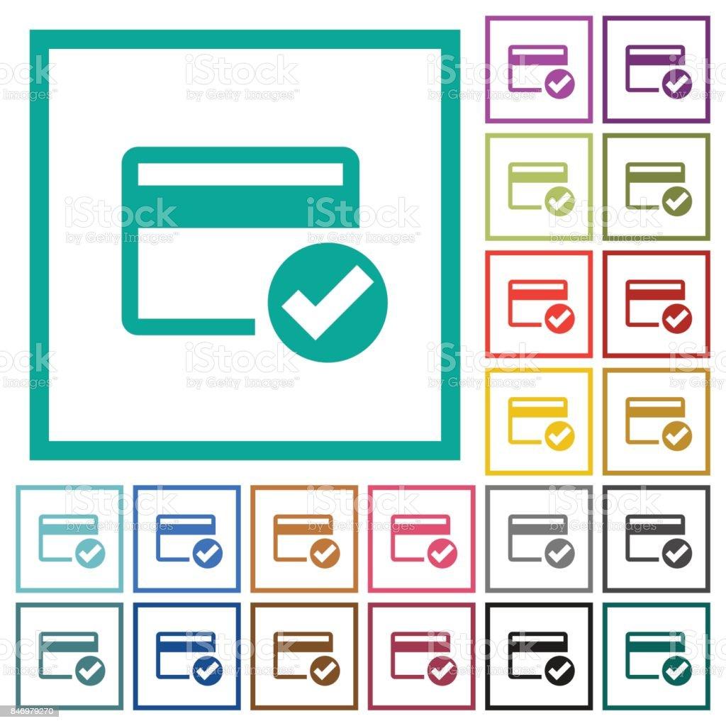 Tarjeta De Crédito Verificado Los Iconos De Color Plano Con Los ...