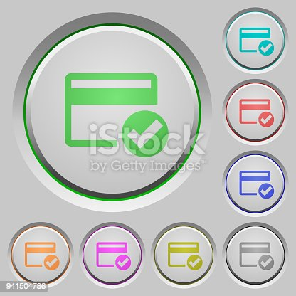 Credit card verified color icons on sunk push buttons