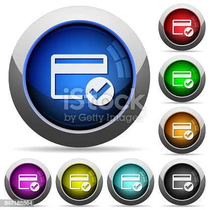 Credit card verified icons in round glossy buttons with steel frames