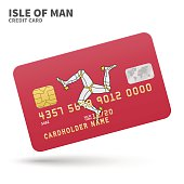 Credit card with Isle of Man flag background for bank, presentations and business. Isolated on white background vector illustration