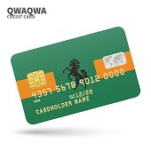 Credit card with QwaQwa flag background for bank, presentations and