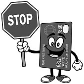 Credit Card with Stop Sign Illustration