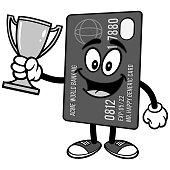 Credit Card with Trophy Illustration