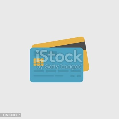 Credit Cards Icon. Modern Minimal Flat Design Style, Vector illustration. Travel Icons Set. Payment Icons Set