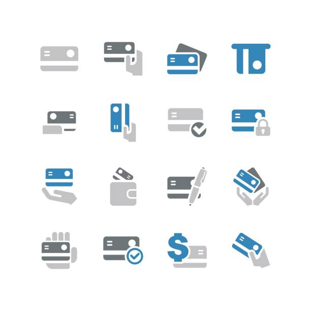 credit cards icons - credit cards stock illustrations, clip art, cartoons, & icons