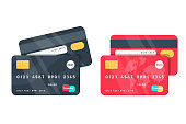 Credit Cards illustrations. Front and Back views. Detailed credit cards set with colorful abstract design background. Vector illustration design EPS10