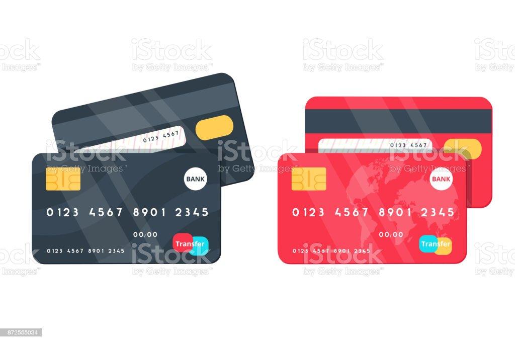 クレジット カードのイラスト。フロントとバックの景色。 ベクターアートイラスト