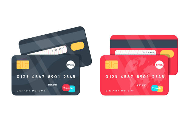 Credit Cards illustrations. Front and Back views. Credit Cards illustrations. Front and Back views. Detailed credit cards set with colorful abstract design background. Vector illustration design EPS10 banking backgrounds stock illustrations