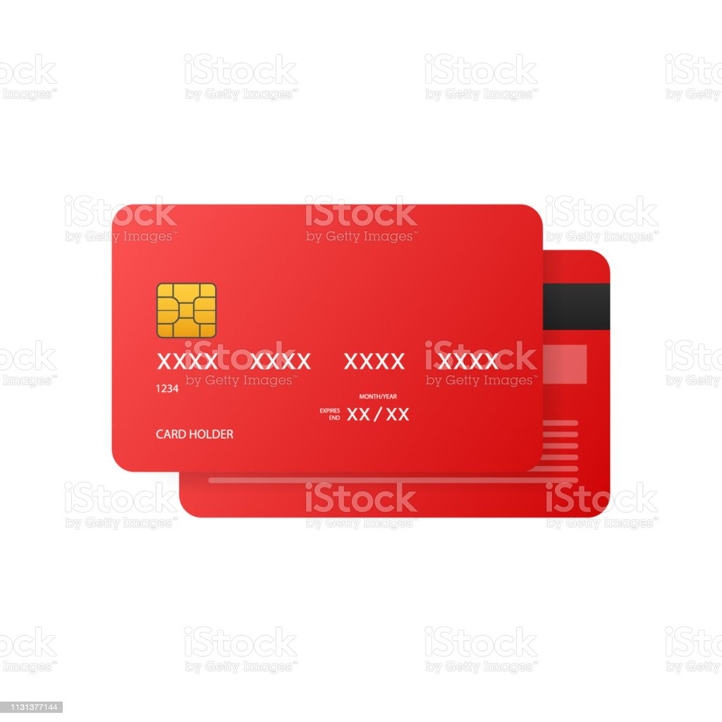 Credit Cards illustrations. Front and Back views. Vector stock...