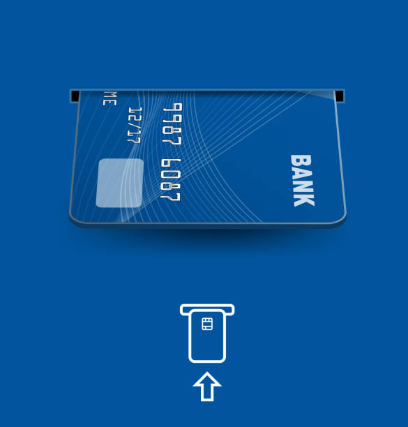 Credit cards in ATM on blue background. Vector illustration. Ready for your design. Vector illustration. Ready for your design. inserting stock illustrations