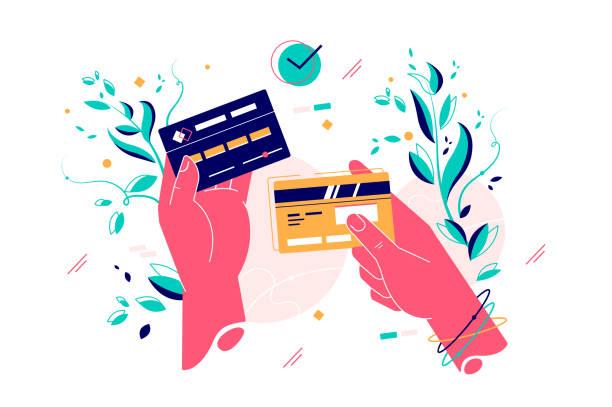 ilustrações de stock, clip art, desenhos animados e ícones de credit cards in female hands - paying with card