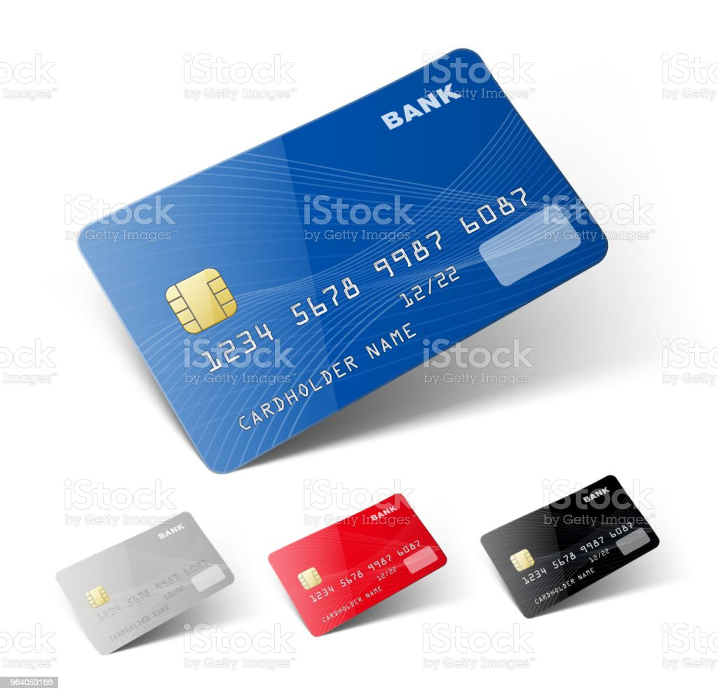 Credit cards isolated on white background. Ready to use. - Royalty-free Backgrounds stock vector