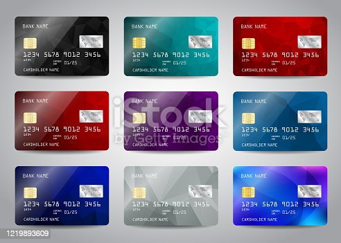 Credit cards set with colorful abstract design background. Realistic detailed templates design for credit card, debit card, ATM card mockup with gold metal gradient chip Vector illustration design