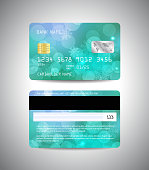 Realistic detailed credit cards set with snowflakes and bokeh lights on blue abstract background. Front and back side template. Christmas and New Year design. Vector illustration EPS10