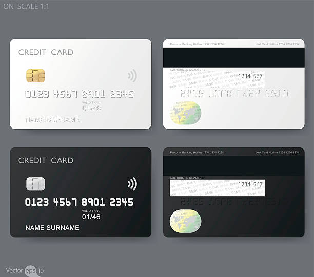 credit cards template vector art illustration