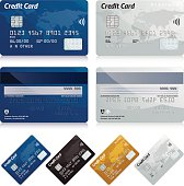Realistic credit cards. 4 card fronts and 2 card backs.