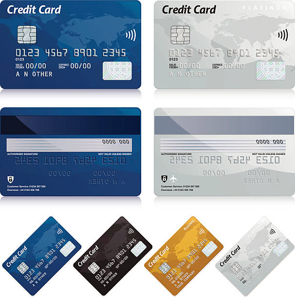 Credit cards Realistic credit cards. 4 card fronts and 2 card backs. banking silhouettes stock illustrations
