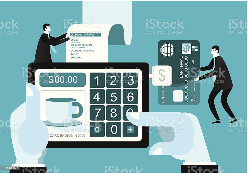 Credit Cards With Digital Tablet vector art illustration