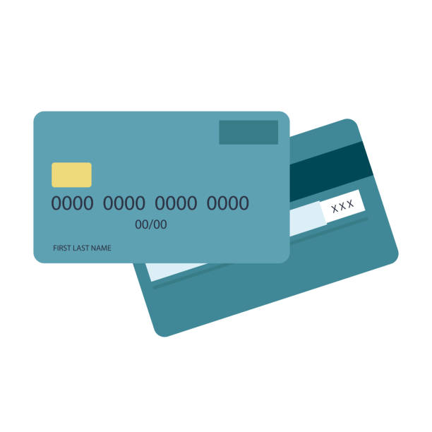 credit debit card flat design. vector illustration. credit cart icon. - credit card stock illustrations