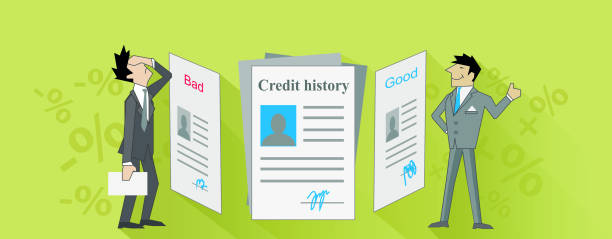 credit history bad and good design - credit score stock illustrations, clip art, cartoons, & icons