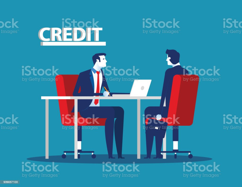 Credit manager character at bank office. Concept business vector illustration. vector art illustration