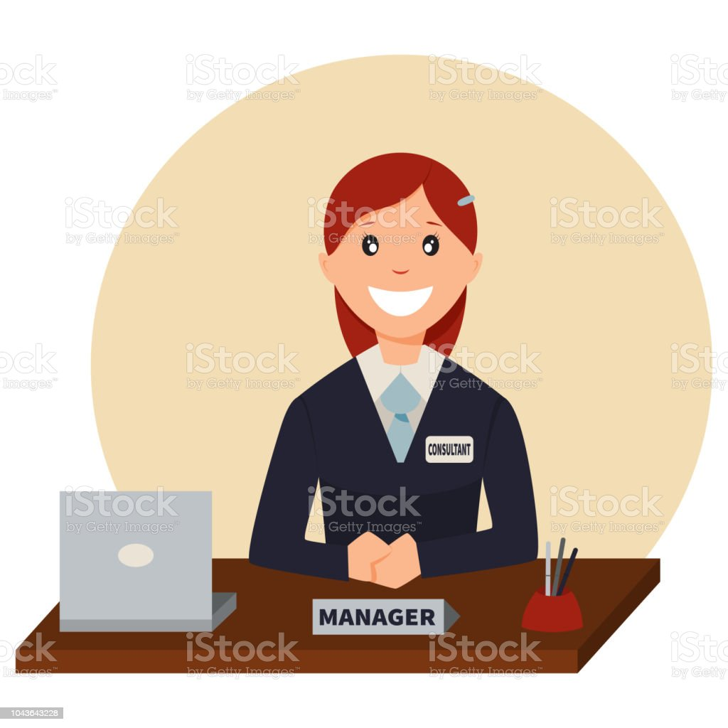 Credit Manager Sits At A Table In The Bank Office Vector Cartoon Character Of