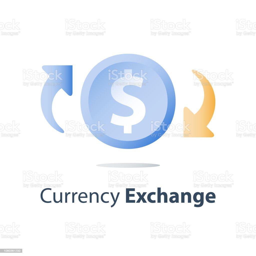 Crédito pago, concepto de finanzas, cambio de divisas, dinero nuevo, retorno sobre la inversión, préstamos de refinanciamiento, depósito de ahorro, servicio de banca - ilustración de arte vectorial
