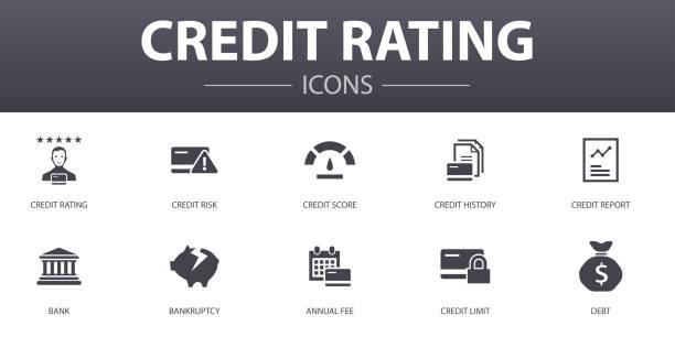 ilustraciones, imágenes clip art, dibujos animados e iconos de stock de calificación crediticia de los iconos de concepto simples establecidos. contiene iconos tales como riesgo de crédito, puntuación de crédito, bancarrota, cuota anual y más, se puede utilizar para la web, logotipo, ui/ux - bancarrota