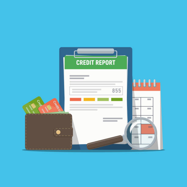 Credit report document concept. Personal credit score information. Credit report document concept. Personal credit score information. Vector illustration in flat style. debt ceiling stock illustrations