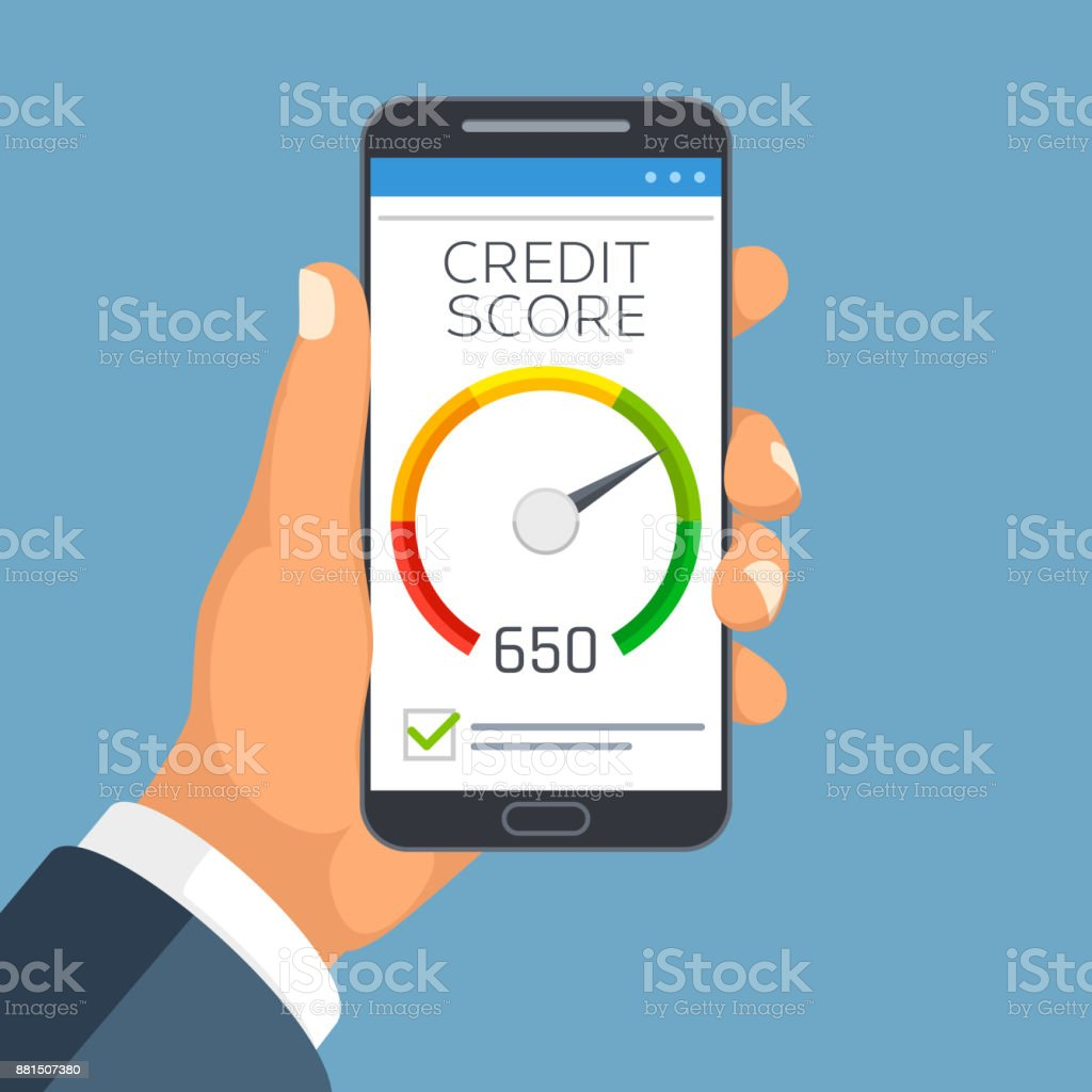 Credit score business report on smartphone screen credit rating credit score business report on smartphone screen credit rating meter app vector concept royalty reheart Gallery