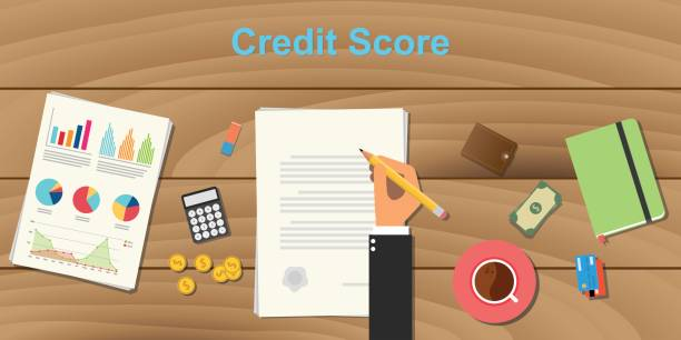 credit score concept illustration with business man hand working on paper work with graph and chart money and pencil with coffee on top of wooden table - credit score stock illustrations, clip art, cartoons, & icons