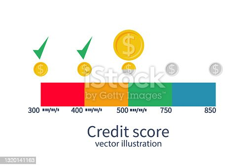 istock Credit score concept. Monthly payment vector 1320141163