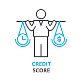 credit score concept , outline icon, linear sign, line pictogram, , flat illustration, vector